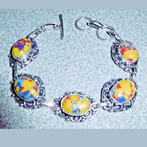 Jewelry - Artisan Mosaic Jasper 925 Silver Bracelet
